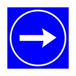 ผู้ขับขี่ต้องขับรถผ่านไปทางด้านขวาของป้าย