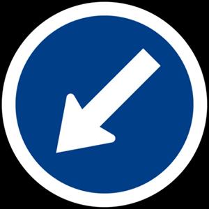 ผู้ขับขี่ต้องขับรถผ่านไปทางด้านซ้ายของป้าย