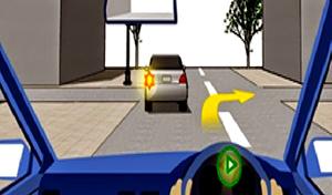 ง. ชะลอรถเนื่องจากรถคันหน้าจะเลี้ยวซ้าย