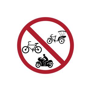 ป้ายห้ามรถจักรยานยนต์ รถจักรยาน และรถจักรยานสามล้อ