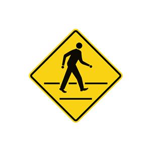 ป้ายเตือนระวังคนข้ามถนน