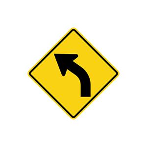 ป้ายเตือนทางโค้งซ้าย