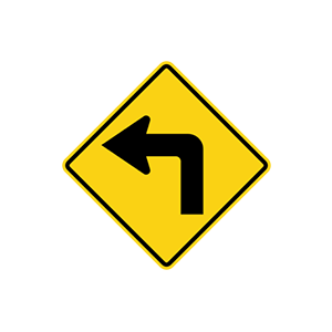 ป้ายเตือนทางโค้งกลับเริ่มซ้าย