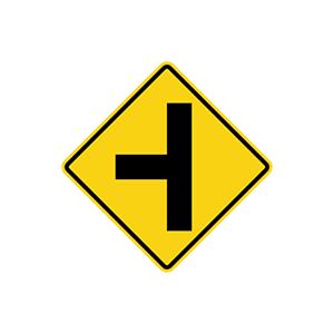 ป้ายเตือนทางโทแยกทางเอกทางซ้าย
