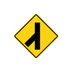 ป้ายเตือนทางโทเชื่อมทางเอกจากซ้าย