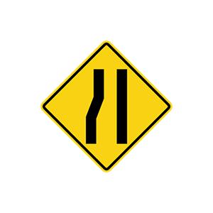 ป้ายเตือนทางแคบด้านซ้าย
