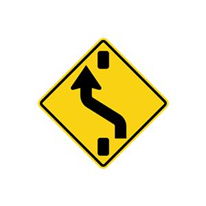 ป้ายเตือนเปลี่ยนช่องการเดินรถด้านซ้าย