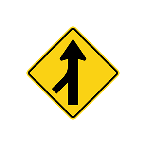 ป้ายเตือนทางร่วมด้านซ้าย