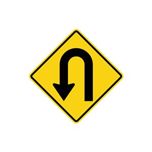ป้ายเตือนทางจุดกลับรถไปทางซ้าย