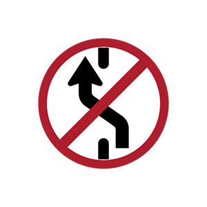 ป้ายห้ามเปลี่ยนช่องเดินรถไปทางซ้าย
